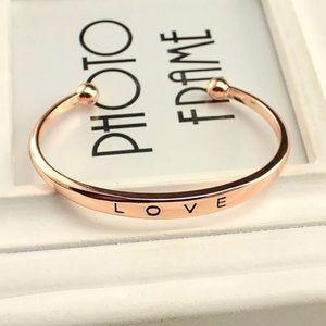 Rose Gold Love Engraved Bangle Bracelet